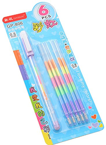 Blue Vessel 1 Stk Regenbogen Gelschreiber Gel Kugelschreiber Kugelschreiber mit 5 Nachfüllungen für Büro Schule Schreibwaren