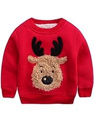 Happy Cherry - Sweat-shirt/ Sweater/ Hoodie Imprimé Wapiti Bébé enfant Unisexe Pour Noël- Col ras du cou - 2-8 ans Starture 95/130 cm- Gris/Rouge/Vert/Bleu