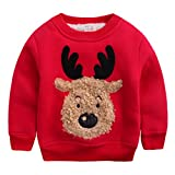 Happy Cherry - Clothing Kids Sweatshirt Winter Babies Tracksuits T-shirt Christmas Reindeer Drawing Warm Thick Sweater with Velvet - Red - Size ES 12-18
