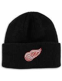 Detroit Red Wings Reebok NHL Basic Logo Black Cuffed Knit Hat