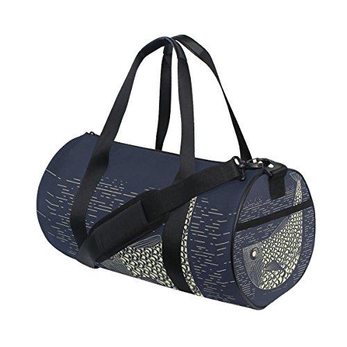 COOSUN Holzschnitt Muskie Fishing Duffle Tasche Schulter Handy-Sport Gym-Taschen für Männer und Frauen Mittel Mehrfarben