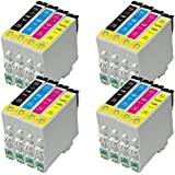 4 Sets = 16 Epson T0555 Compatible Printer Ink Cartridge for Epson Stylus Photo RX420 RX425 RX520 R240 R245 RX450 Printers (4x Black, 4x Cyan, 4x Magenta, 4x Yellow)