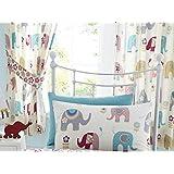"66"" x 72"" Jumbo Curtains, Elephants Nellie Pink Blue Grey Green Flowers"