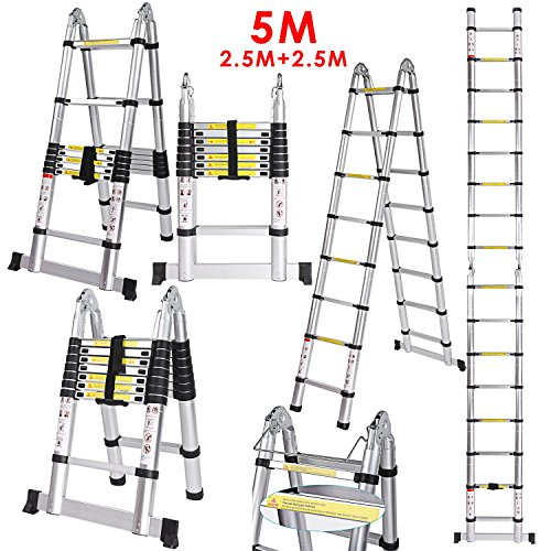 pro-5m-25-25m-multi-purpose-folding-extension-extendable-telescopic-aluminum-alloy-ladder-150-kg-loa