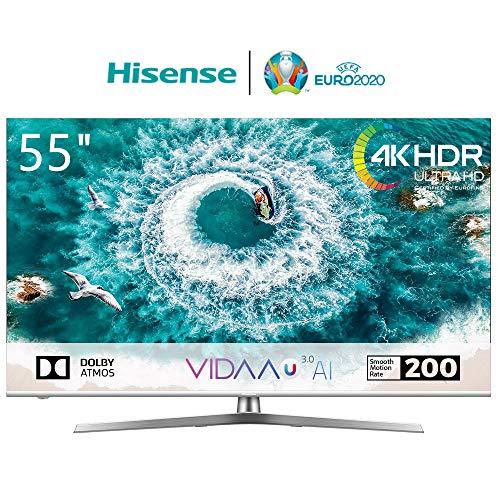 Hisense H55U8B 138 cm (55 Zoll) Fernseher (4K Ultra HD, HDR 1000, DolbyVision, Triple Tuner, Smart-TV, USB-Aufnahmefunktion, WCG)