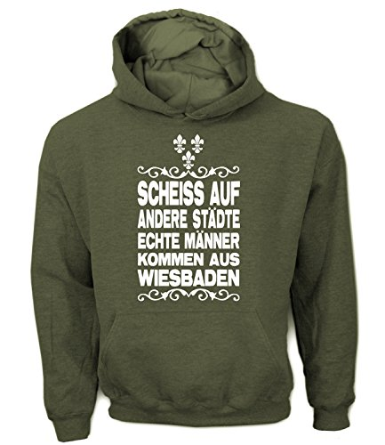 Artdiktat Herren Hoodie - Scheiß auf andere Städte - Echte Männer kommen aus Wiesbaden Größe XXL, khaki