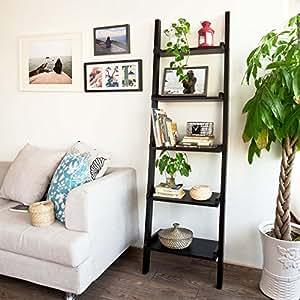 SoBuy Modern ladder shelf made of wood with five floors, stand shelf, wall shelf, 56x189cm FRG17-SCH ,Black