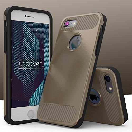 Urcover® Apple iPhone 7 Schutzhülle Carbon Optik Design Dual Layer in Champagner Gold Back-Cover Cross Case Smartphone Bumper & Schale Champagner Gold