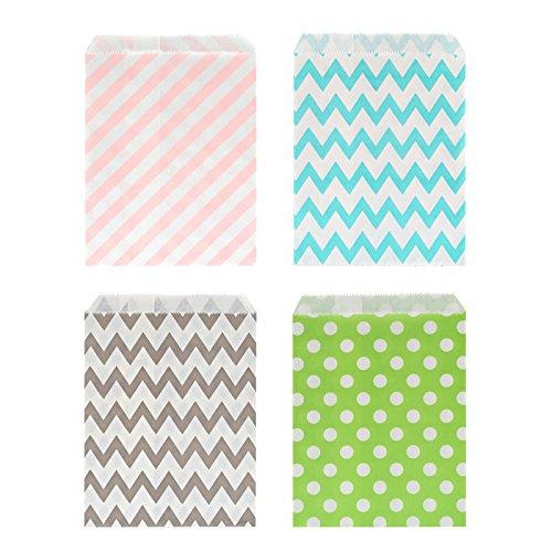 Kesote 100 Bolsas de Papel para Caramelos Bolsas de Papel para Regalos de Diferentes Colores e Diferentes Patrones, Olas, Punto y Rayas diagonales (Colores aleatorios)