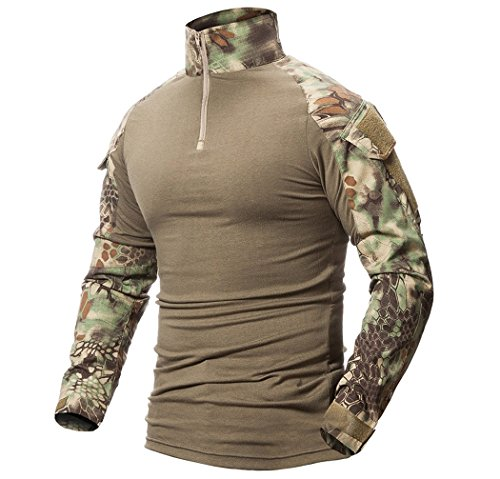 Minetom Herren Outdoor Military Schlank Passen Taktisch T-Shirt Militär Tarnung Jacke Kampf Lange Hülse Camouflag T-Shirt Für Tactical Airsoft Paintball Armee Jagd Desert Hemd A Grün 2X-Large -