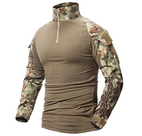 ShallGood Herren Schlank Passen Taktisch T-Shirt Militär Airsoft Tarnung Kampf Lange Hülse Shirts mit Reißverschluss A Grün Medium