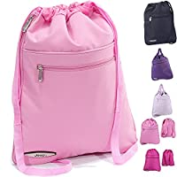 Gym Bag for Women Mens Drawstring backpack water resistant PE rucksack by JEEP (HOT PINK)