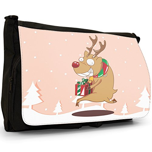Renne di Babbo Natale Fun & Frolics–Borsa Tracolla Tela Nera Grande Scuola/Borsa Per Laptop Rudolph Runs Away With Gift