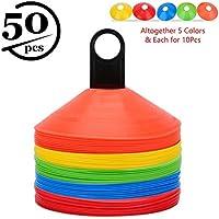 50pcs Conos de Entrenamiento de Fútbol Conos de Disco para Entrenamiento de Agilidad con Bolsa de Transporte Soporte de Plástico