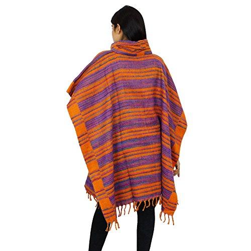 laine de haute Long Neck Top laine Poncho pour elle Ocre jaune et pourpre