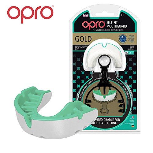 Opro Mundschutz Gold selbst Passform, Gen. 3self-fit mundschutze der Welt für Rugby, Hockey, MMA, Boxen, Lacrosse, American Football und Kontaktsportarten. Entworfen und Hergestellt in Großbritannien (Hellgrün)