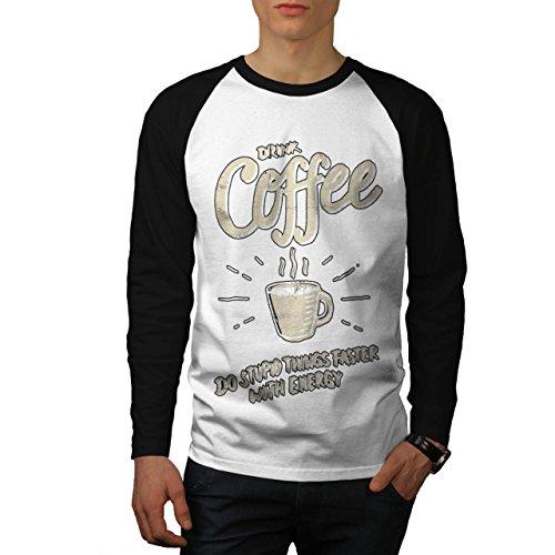 Getränk Kaffee Blöd Essen Schnell Energie Herren M Baseball lange Ärmel T-Shirt   Wellcoda (Baseball-t-shirts Kubanische)