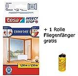 tesa Insect Stop COMFORT Fliegengitter für Fenster/Insektenschutz mit selbstklebendem Klettband (130 cm x 150 cm/3er Pack, Weiß) + 1 Rolle Fliegenfänger Gratis