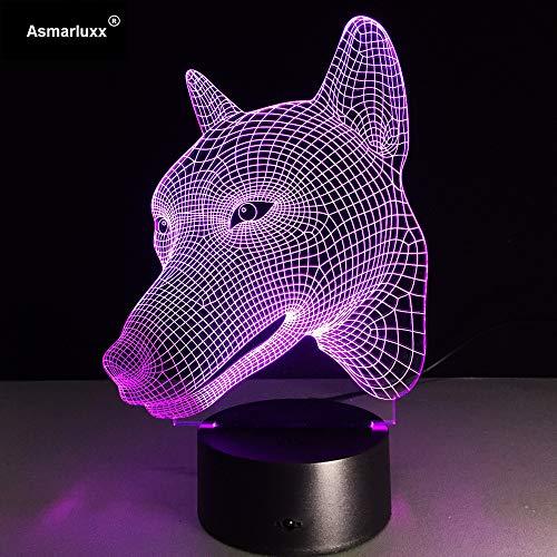 Hund Nachtlicht LED 3D Illusion 7 Farbe Ankleidezimmer Dekoration Licht Kind Kind Baby Kit Tischlampe Bett Kopf 5 Kein Controller
