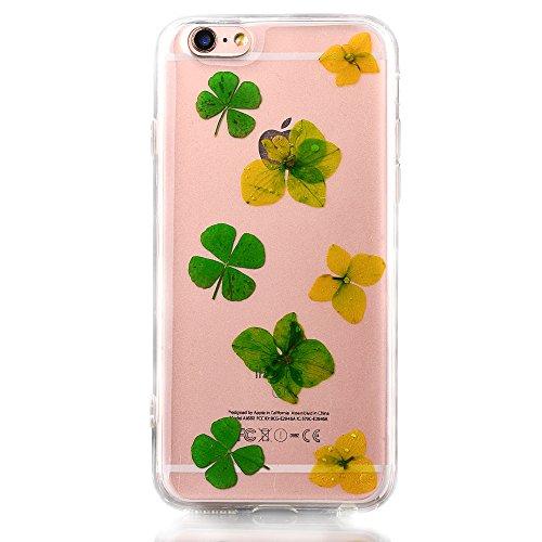 Elegante Custodia per Apple iPhone 6/6s 4.7(NON iPhone 6Plus/6sPlus 5.5), CLTPY Flexible Case in Pressed Reale Fiore Natura Bella Clear View Ultra Slim Morbida Gomma Gel, Particolari Fantasia Lusso  Fiore 18