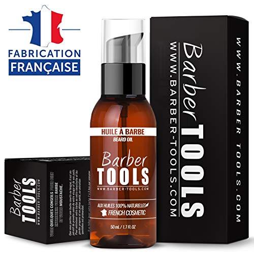 Huile Barbe aux huiles 100% naturelles 50ml - FABRIQUÉE EN FRANCE - Favorise la Pousse de la Barbe - À base d'Huile de RICIN, 7 Huiles Végétales & 3 huiles essentielles & Vitamine E - Soin Barbe
