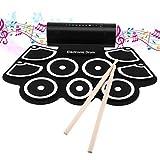 ROXTAK Elektronisches Schlagzeug mit Pad-Percussion, tragbare elektronische Roll-Up-Trommel, perfekt für Anfänger und Kinder - Elektronische Roll-Up -Drum Pad mit Drumsticks