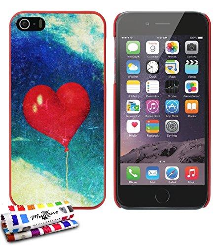 Ultraflache weiche Schutzhülle APPLE IPHONE 5S / IPHONE SE [Herzen ballon vintage] [Grun] von MUZZANO + STIFT und MICROFASERTUCH MUZZANO® GRATIS - Das ULTIMATIVE, ELEGANTE UND LANGLEBIGE Schutz-Case f Rot