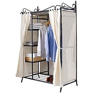 wardrobe breezy metal frame cotton cover beige black 109 x 171 x 57 cm kitchen home. Black Bedroom Furniture Sets. Home Design Ideas