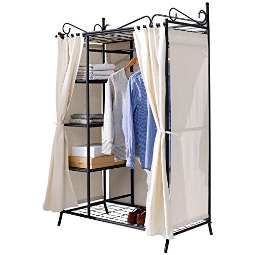 Pureday Metall Kleiderschrank Garderobe Breezy – mit Kleiderstange und Ablageflächen
