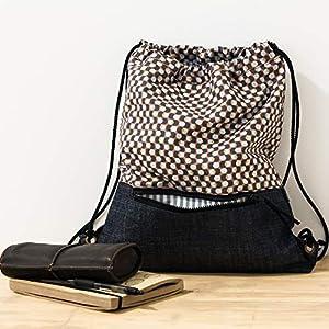 Mehrfarbig Stoff Kordel Rucksäcke. Vegane Tasche. Kordelzug Tasche. Rucksackhandtaschen.