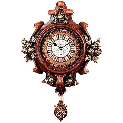 YUENLONG Orologio da parete orologi da tavolo orologi retrò arte orologio orologio creativo europeo classico antico della serie soggiorno croce nero H060M,A forma di croce in legno H060M