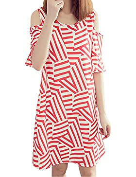 SKY Celebrate for the Summer Day !!! Mujeres La Sra tirantes de rayas larga sección de vestido suelto Off Shoulder...
