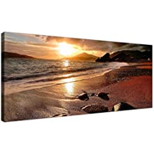 Wallfillers Wide Canvas Prints of a Beach Sunset for your Living Room - Modern Seaside Wall Art - 1131