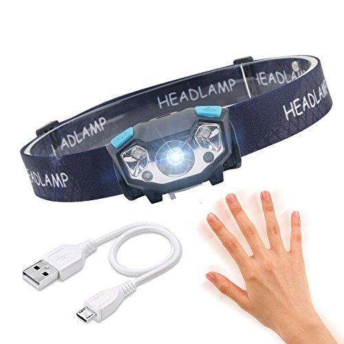 Kopflampe LED Wiederaufladbar, IR-Sensor-Induktions-Superlicht 5W LED-Scheinwerfer, Leichter Wasserdichter Scheinwerfer Für Das Laufen Gehende Kampierende Lesung, Die Das Fischen Liest, Das DIY Liest