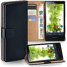 Sony Xperia T Hülle Schwarz mit Kartenfach [OneFlow Wallet Cover] Handytasche Flip-Case Handyhülle Etui Kunst-Leder Tasche für Sony Xperia T Case Book Schutzhülle