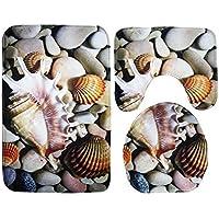 Comparador de precios Zabrinay Artículos para el hogar 3 Unids/Set Cobble Stone Alfombra de Baño de Franela Suave Set Contour Alfombra Tapete Tapa del Inodoro (Azul) - precios baratos