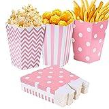 Czemo Scatole di Popcorn 36pcs Pop Corn Box Contenitori di Popcorn Contenitori di Caramelle per Spuntini del Partito,Rosa