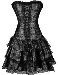 9007598589b EUDOLAH Gothic Korsage Kleid Mini Rock Petticoat Bustier Top mit Tutu-Rock
