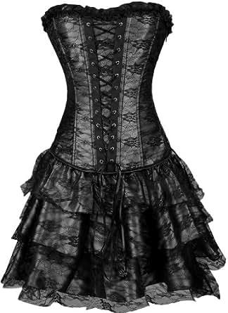 TDOLAH Sexy Corset Gothic Boned Dress Bustier Clubwear Lingerie Set for Women (UK Size 6-8 (S), Black)