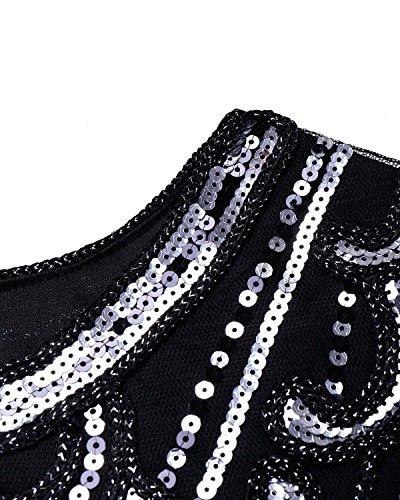BIUBIU Damen 1920er Vintage Pailletten Kleid Flapper Ballkleid Partykleid Cocktailkleider Silber
