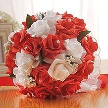 Amazon Fr Bouquet De Fleurs Rouge De Mariage