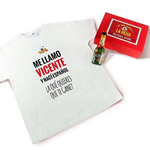 Pack camiseta personalizada + cerveza para disfrutar de los partidos del Mundial (Nací español blanco)
