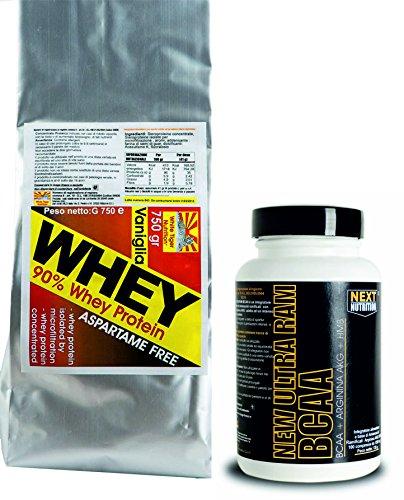 Le kit se compose de deux suppléments whey protein isolat protéique de lactosérum hydrolysées et 750 grammes de haute valeur biologique , riche en acides aminés ramifiés et goût de vanille essentiel sans aspartame Plus la chaîne ramifiée acides aminés BCAA enrichi avec HMB et l'arginine alpha céto Glutarata . Chaque comprimé contient 1000 mg de BCAA pur . 5 comprimés fournissent 500 mg et 500 mg HMB Arginine Alpha Keto Glutarata . Emballez 135-100 gr comprimés formulation exclusive