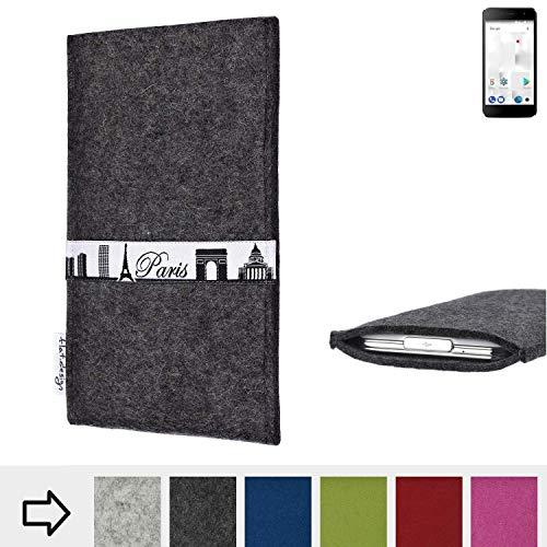 flat.design für Thomson Friendly TH101 Schutzhülle Handy Case Skyline mit Webband Paris - Maßanfertigung der Schutztasche Handy Hülle aus 100% Wollfilz (anthrazit) für Thomson Friendly TH101