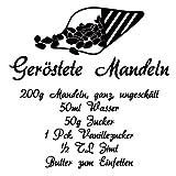 Wadeco Geröstete Mandeln Rezept Wandtattoo Wandsticker Wandaufkleber 35 Farben verschiedene Größen, 45cm x 48cm, orange