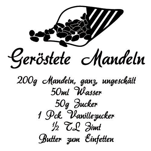 Wadeco Geröstete Mandeln Rezept Wandtattoo Wandsticker Wandaufkleber 35 Farben verschiedene Größen, 45cm x 48cm, mint - 101 Mandel