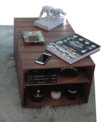Table Basse en Bois 2 Compartiments, sur roulettes, Style Caisse Vintage, Pin Massif Nordique - Liza – 51 x 83 x 40 cm (Marron Noyer)