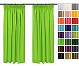 einfarbig Blickdicht Vorhänge 2er Set mit Universal-Kräuselband