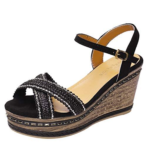 H Wort Kostüm - Sandalen Damen Sommer Omingkog Hang mit offenem Zeh Fisch Mund atmungsaktiv Wort Schnalle weiblichen Sandalen Plattform Keile Schuhe(Black,32)