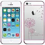 kwmobile Crystal Case Hülle mit Glitzer für Apple iPhone SE / 5 / 5S mit I love freedom Design transparente Schutzhülle Cover in Pink Transparent